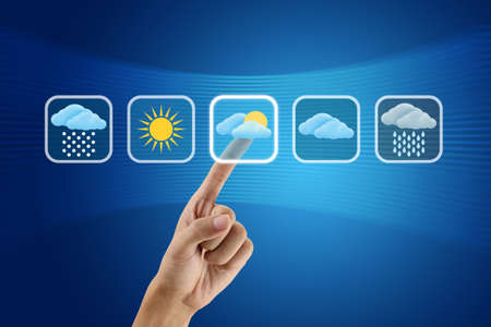 finger pushing Weather icon Stock Photo - 10884037