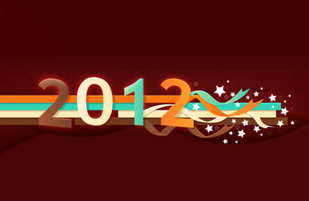 Year 2012 with stars red color  Stock Photo - 10930256