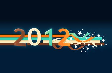 Year 2012 with stars blue color Stock Photo - 10930255