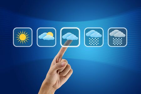 finger pushing Weather icon Stock Photo - 10930232