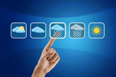 finger pushing Weather icon photo