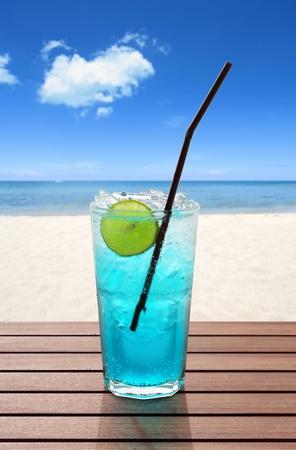 blue soda on the beach Stock Photo - 10973772