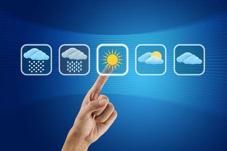 finger pushing Weather icon Stock Photo - 10973768