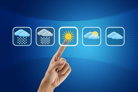 cloudy weather: finger pushing Weather icon