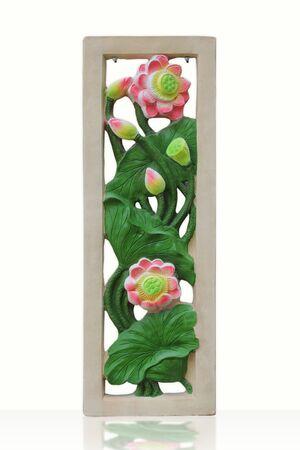 twin lotus stucco on white background  photo