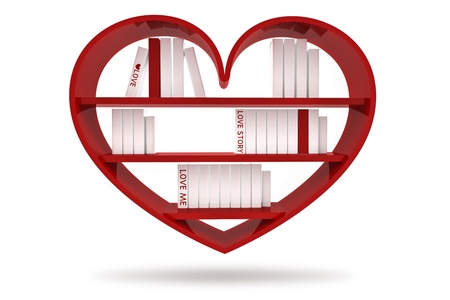 shelf with books: books with blank covers standing on the heart bookshelf isolated on white background Stock Photo