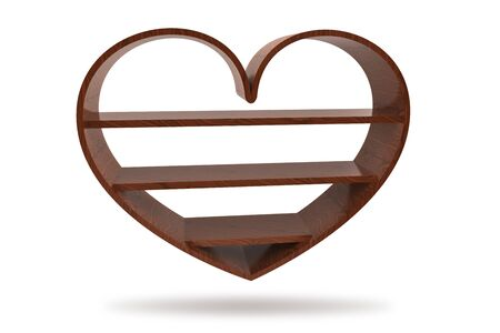 3d wood heart bookshelf isolated photo
