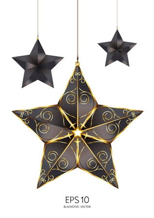 black with gold star  Stock Vector - 11254731