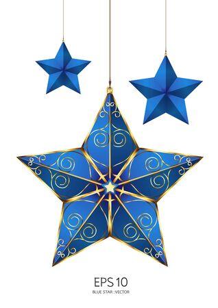 brushed gold: blue star