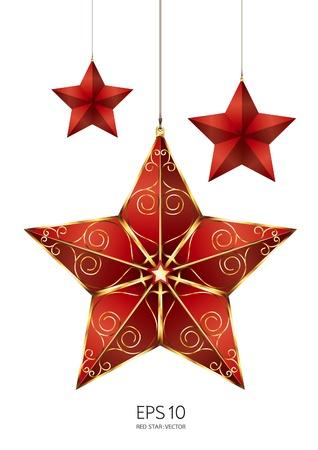 gouden ster: rode ster vector