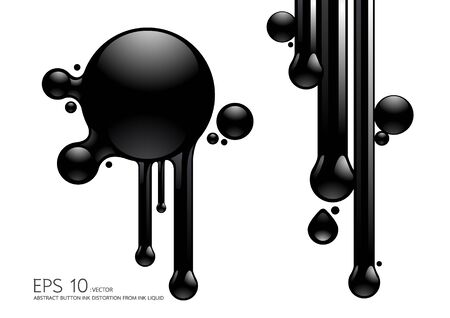 ink button distortion from ink liquid  Vector