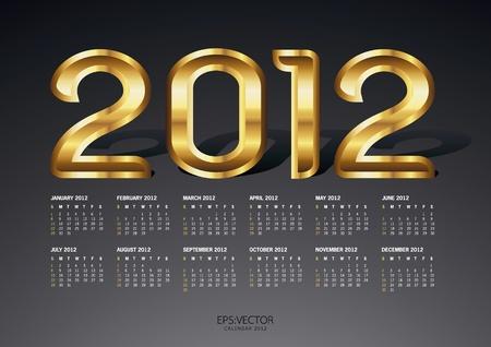 0 1 years: 2012 gold calendar