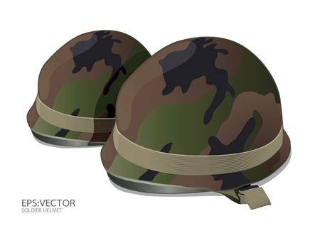 tatty: US Army helmet on white background