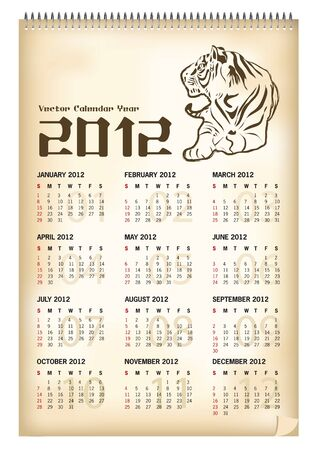 tiger calendar 2012  Stock Vector - 11422915