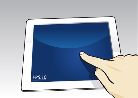 hand holding a touchpad pc, isolated on white  Vector
