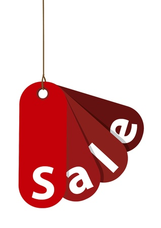 Red Sale Tag Isolated on White  Vector