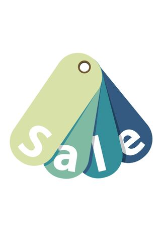 Blue Sale Tag Isolated on White  Vector