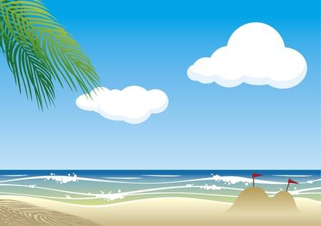 물결: 해변 배경 일러스트