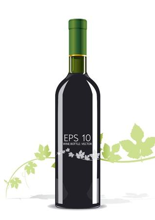 unlabeled:  bottle of wine Illustration