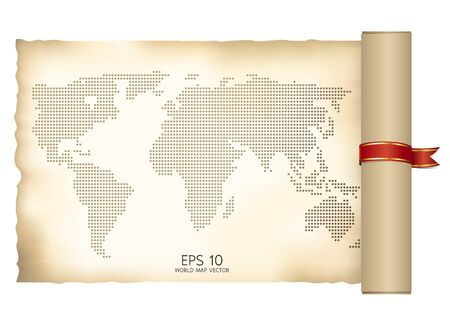 world map scroll with ribbon  Vector