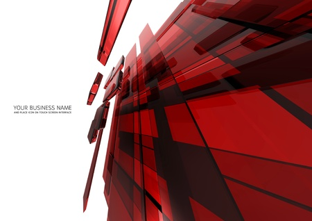 advanced: abstract touch screen interface Red glass background Stock Photo