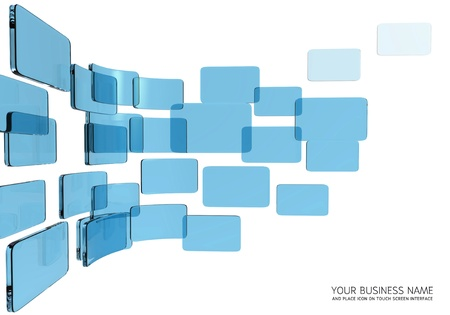 touch screen interface blue glass Stock Photo - 11422927