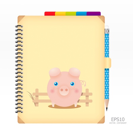memo pad: note book yellow color with pencil