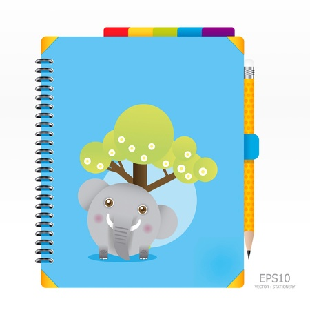 open diary: note book blue color with pencil Illustration