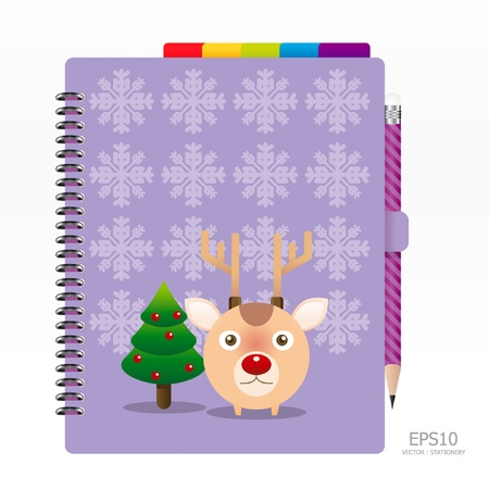 note book: note book violet color with pencil Illustration