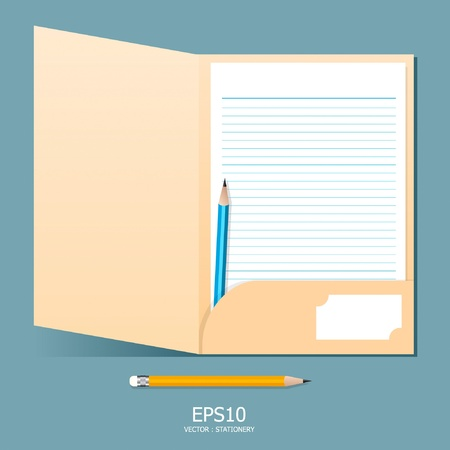 note paper in folder with pencil Stock Vector - 11422943