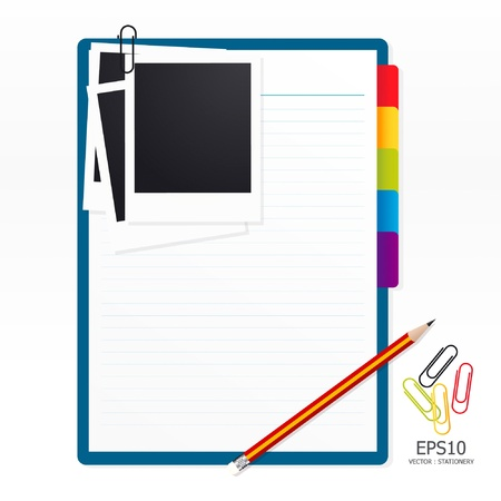 open notebook: note paper with pencil