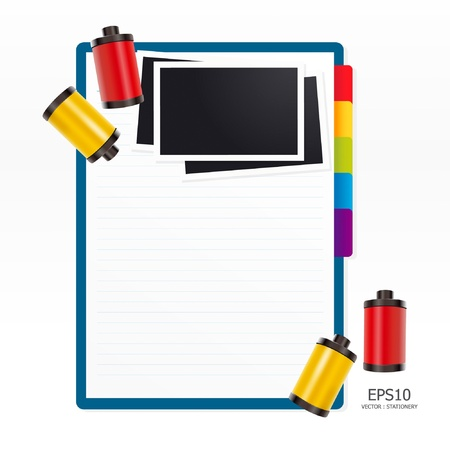 note paper with film Vector