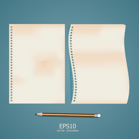 old note paper with pencil Stock Vector - 11422935
