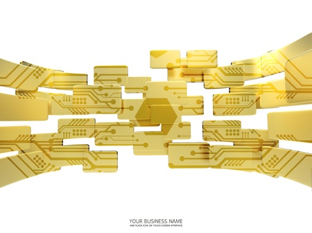circuit gold  interface background Stock Photo - 11657817