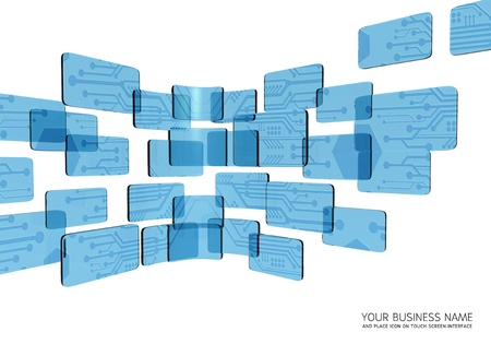 touch screen interface circuit  blue glass Stock Photo - 11657808