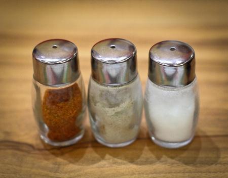 salt pepper: Salt and pepper shaker on table