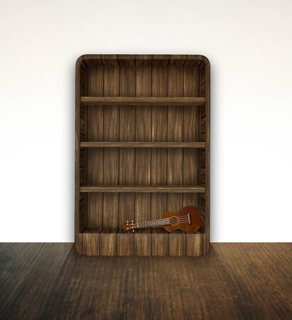 bookshelf with ukulele photo
