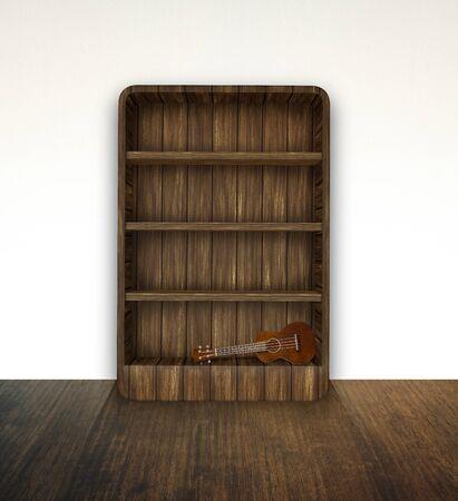 bookshelf with ukulele photo