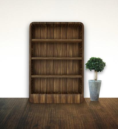 bookshelf with tree photo