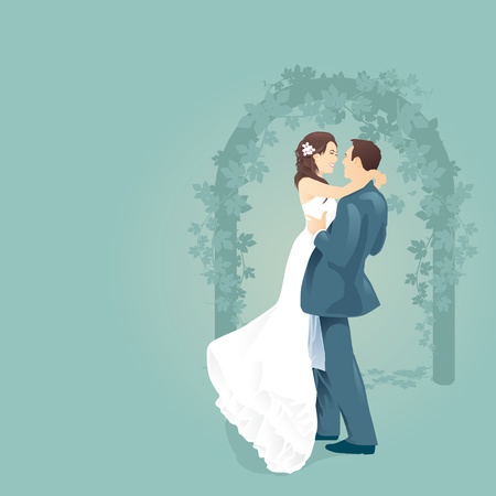 couples love with wedding gate vector Vector