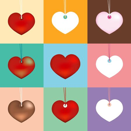 paramour: Collection heart on different color. vector illustration  Illustration