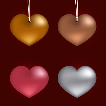 Collection heart on metal. vector illustration  Vector
