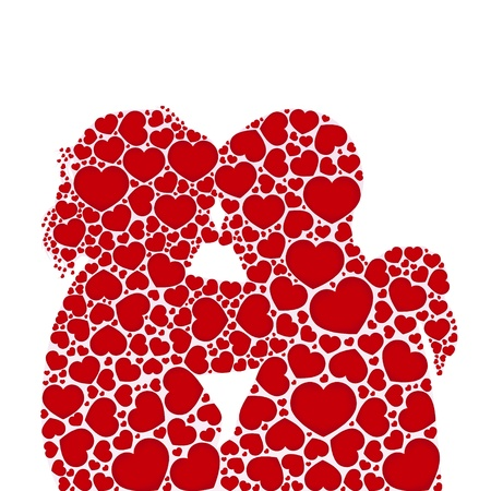 love and friendship:  heart love silhouette couples concept.vector