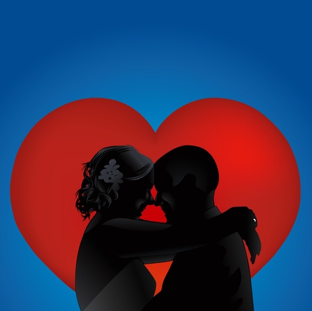 silhouette love couples with heart vector