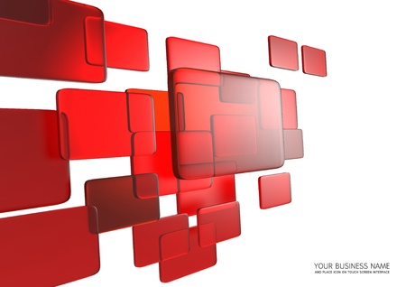 abstract touch screen interface Red glass background photo