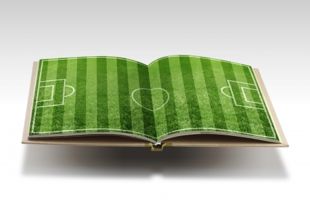soccer grass: Open  book with  soccer stadium on white background Stock Photo