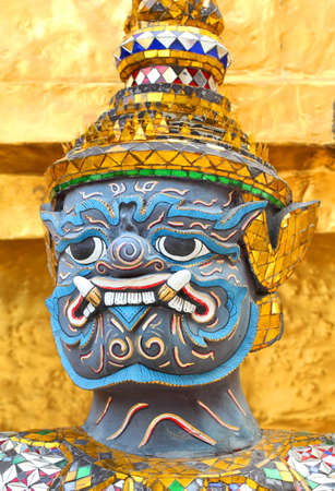 a cudgel: Guardian at Wat Phra Kaew Grand Palace Bangkok
