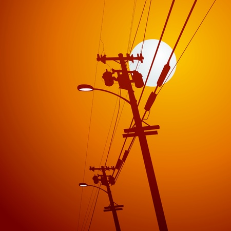 volts: Electricity post vector Illustration
