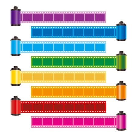 negative: film roll color vector