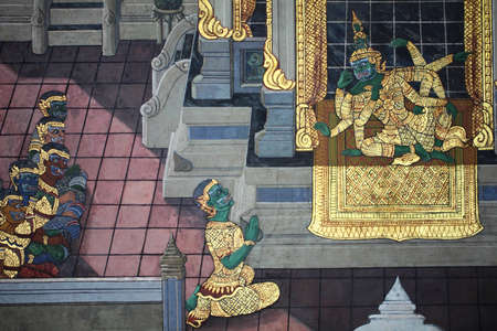 thai art painting on the wall, grand palace, thailand Stock Photo - 12817890